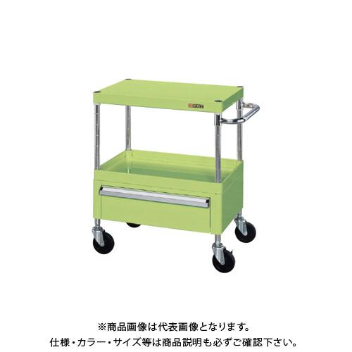 【直送品】サカエ ニューCSパールワゴン(ゴム車・下引出し付) CSPA-607C