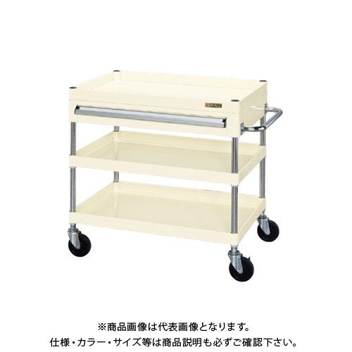【直送品】サカエ ニューCSパールワゴン(ゴム車・天板皿型・上引出し付) CSPA-757BI