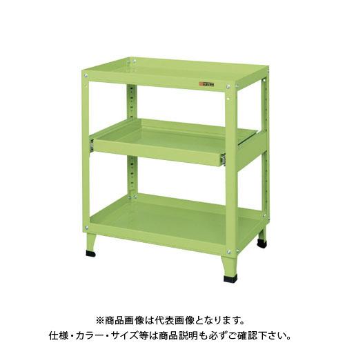 【直送品】サカエ スーパーワゴン(固定タイプ・スライド棚付) KN-200S
