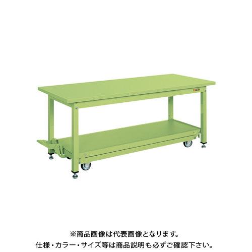 【直送品】サカエ 中量作業台KVタイプ・ペダル昇降移動式(スチールカブセ天板仕様) KV-127PCF
