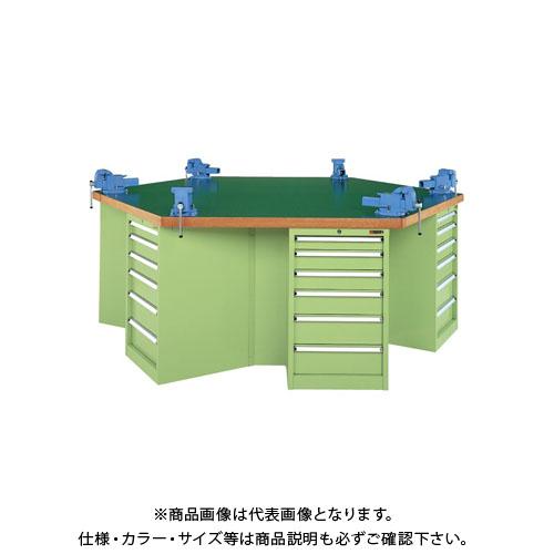 【直送品】サカエ 六角形作業台 KW6F-24J