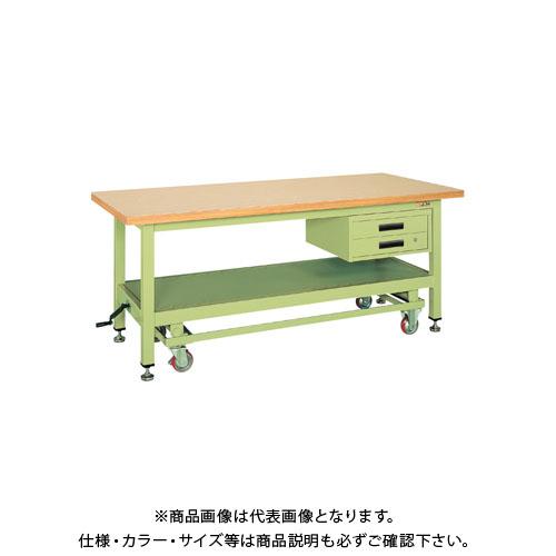 【直送品】サカエ 超重量作業台KWCタイプ・ハンドル昇降移動式 KWCG-89B
