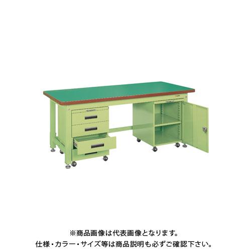 【直送品】サカエ 重量作業台KWタイプ・キャビネットワゴン付 KWF-158DF