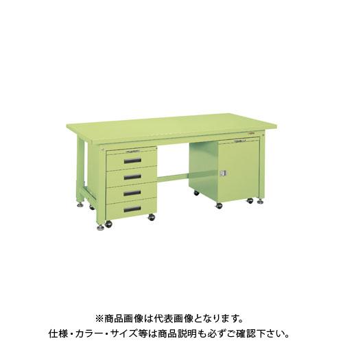 【直送品】サカエ 重量作業台KWタイプ・キャビネットワゴン付 KWS-158DF
