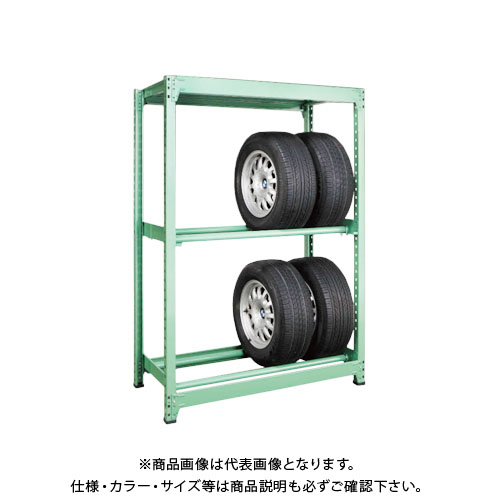 【運賃見積り】【直送品】サカエ SAKAE タイヤラック 3段 単体タイプ H1800×W1200 グリーン MT1812M03T