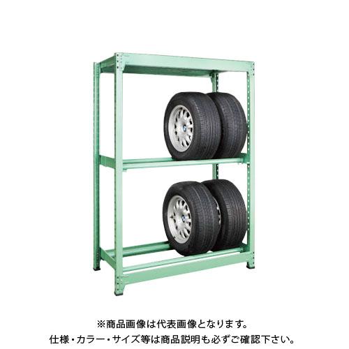 【運賃見積り】【直送品】サカエ SAKAE タイヤラック 3段 連結タイプ H1800×W1800 グリーン MT1818M03R