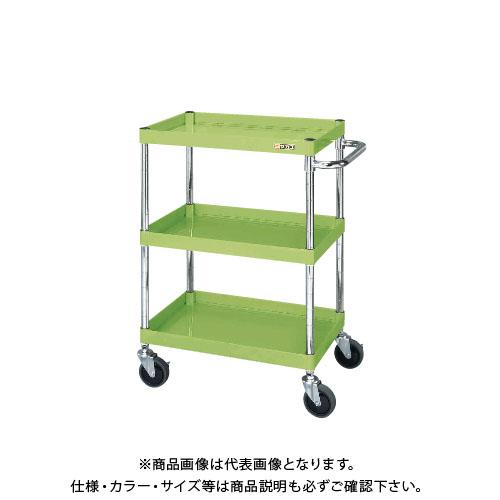 【直送品】サカエ SAKAE ニューパールワゴン(静音キャスター仕様) 600×400×880 グリーン PMR-103SE