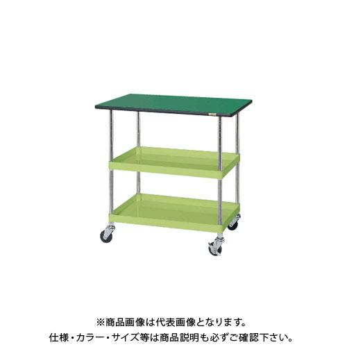 【直送品】サカエ SAKAE ニューパールワゴン天板付 900×600×900 グリーン PKR-203TE