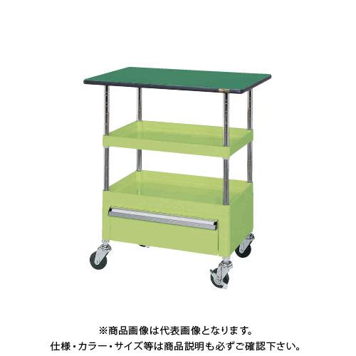 【直送品】サカエ SAKAE ニューパールワゴン天板付 750×500×900 グリーン PMR-2RCTE