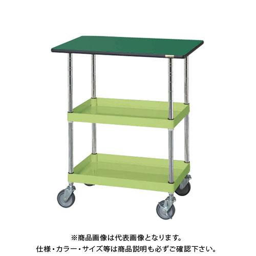 【直送品】サカエ SAKAE ニューパールワゴン天板付 750×500×900 グリーン PMR-150MNTE