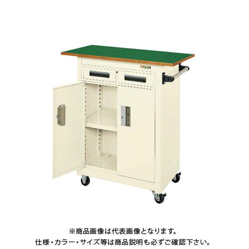 【直送品】サカエ SAKAE パネルワゴン天板付 750×500×900 アイボリー PMW-7AINT