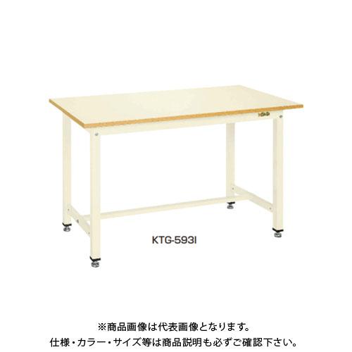 【直送品】サカエ SAKAE 中量作業台KTGタイプ 組立式 メラミン天板 1500×900×900 グリーン KTG-503IG