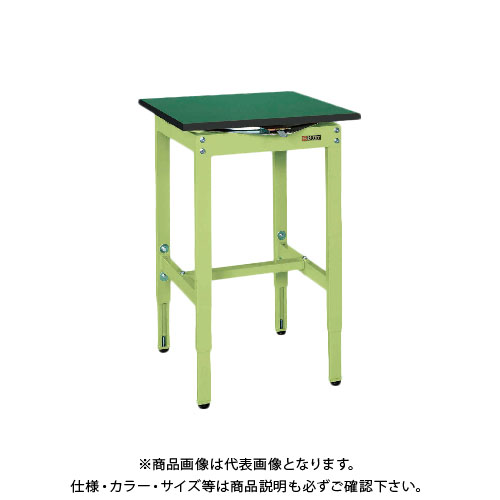 【直送品】サカエ SAKAE 回転作業台 組立式 サカエリューム天板 600×600×760~960 グリーン TRK-600SE