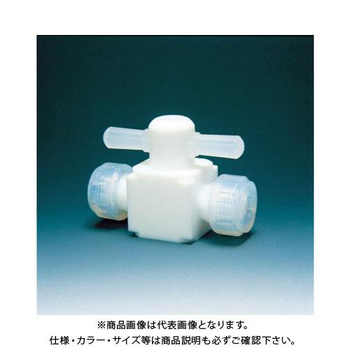 フロンケミカル フッ素樹脂(PTFE)二方バルブ圧入型 8φ NR0003-002