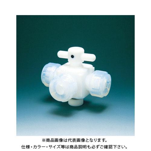 フロンケミカル フッ素樹脂(PTFE)三方バルブ接続12mm NR0030-004
