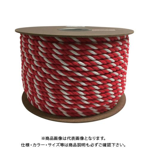 ユタカメイク アクリル紅白ロープ 12mm×100m PRZ-65