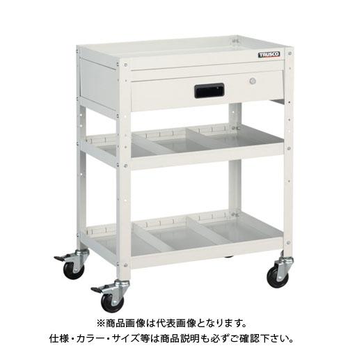 【個別送料1000円】【直送品】TRUSCO ラビットワゴン 600X400 引出1段 仕切2段付 W色 RBW-863S2V W