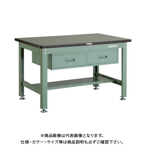 【直送品】 TRUSCO RHW型作業台 1200X750XH740 2列引出付 緑 RHW-1200FL2:GN