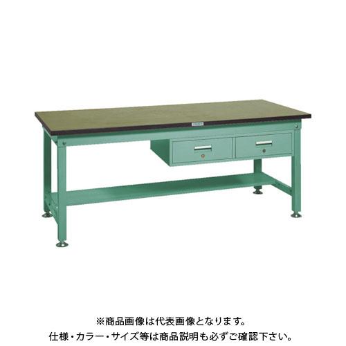 【直送品】 TRUSCO RHW型作業台 1800X750XH740 2列引出付 緑 RHW-1800FL2:GN