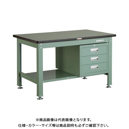 【直送品】 TRUSCO RHW型作業台 1200X750XH740 3段引出付 緑 RHW-1200D3:GN