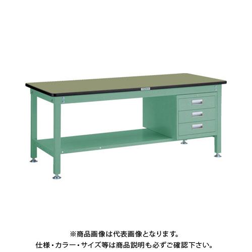 【直送品】 TRUSCO RHW型作業台 1800X750XH740 3段引出付 緑 RHW-1800D3:GN