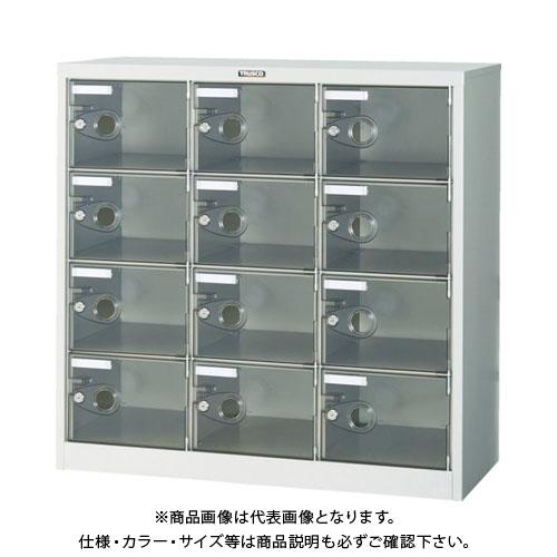 【個別送料2000円】【直送品】 TRUSCO シューズケース 12人用 900X380XH880 透明 鍵付 SC-12PC-L