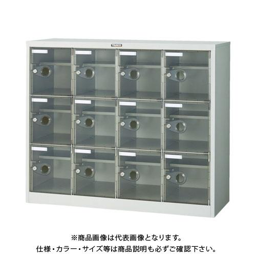 【個別送料2000円】【直送品】 TRUSCO シューズケース 12人用 1050X380XH880 棚付 透明 SC-12WPC-L