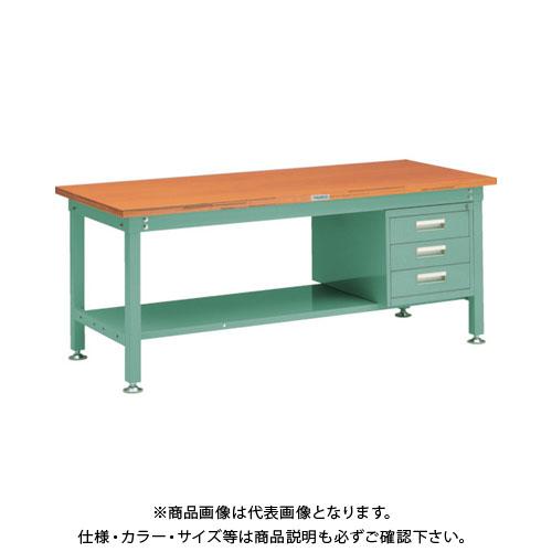 【直送品】 TRUSCO SHW型作業台 1800X900XH740 3段引出付 緑 SHW-1809D3:GN
