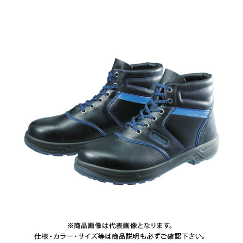 シモン 安全靴 編上靴 SL22-BL黒/ブルー 24.5cm SL22BL-24.5