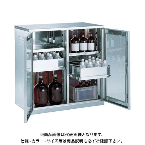 【運賃見積り】【直送品】 TRUSCO 耐震薬品庫 ガラス両開型 棚スライド式 900X500XH900 SW