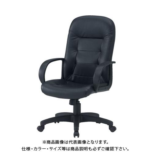 【運賃見積り】【直送品】 TRUSCO オフィスチェア レザー張り 黒 T5563:BK
