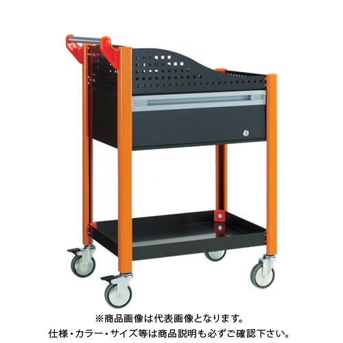 【直送品】 TRUSCO カスタムワゴン 深型1段引出・浅棚板付 ブラック TAC-648ADR-BK