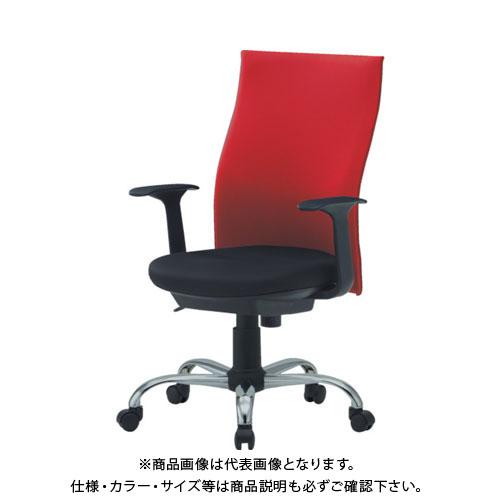 【運賃見積り】【直送品】 TRUSCO ハイバックオフィスチェアー 肘付 赤 TOFC330A:R
