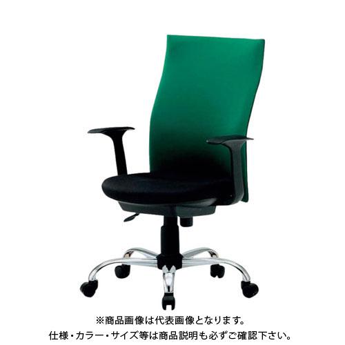 【運賃見積り】【直送品】 TRUSCO ハイバックオフィスチェアー 肘付 緑 TOFC330A:GN