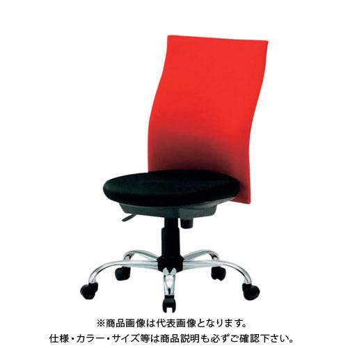 【運賃見積り】【直送品】 TRUSCO ハイバックオフィスチェアー 肘無 赤 TOFC330:R