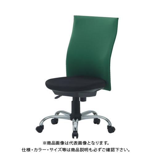【運賃見積り】【直送品】 TRUSCO ハイバックオフィスチェアー 肘無 緑 TOFC330:GN