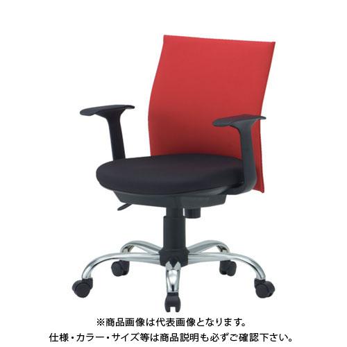 【運賃見積り】【直送品】 TRUSCO ローバックオフィスチェアー 肘付 赤 TOFC203BA:R