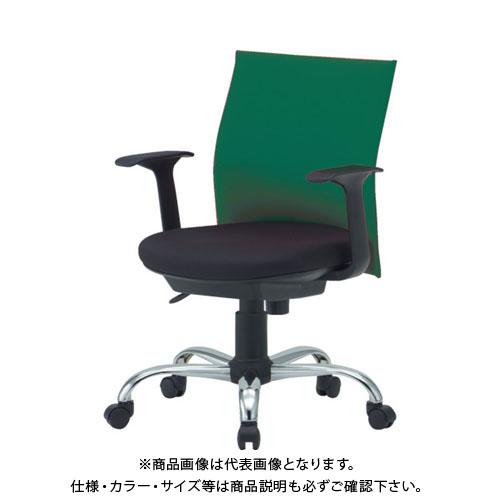 【運賃見積り】【直送品】 TRUSCO ローバックオフィスチェアー 肘付 緑 TOFC203BA:GN
