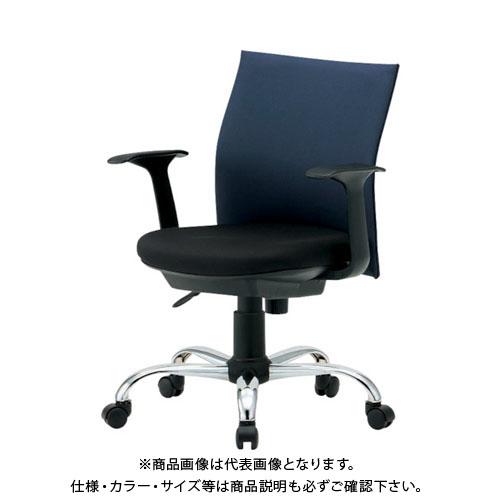 【運賃見積り】【直送品】 TRUSCO ローバックオフィスチェアー 肘付 青 TOFC203BA:B