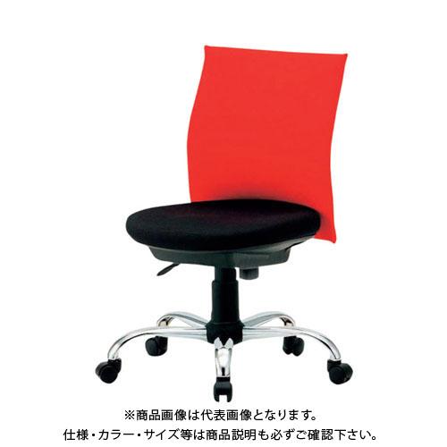 【運賃見積り】【直送品】 TRUSCO ローバックオフィスチェアー 肘無 赤 TOFC203B:R