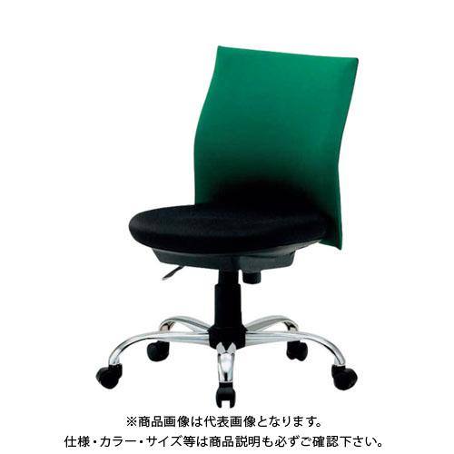 【運賃見積り】【直送品】 TRUSCO ローバックオフィスチェアー 肘無 緑 TOFC203B:GN