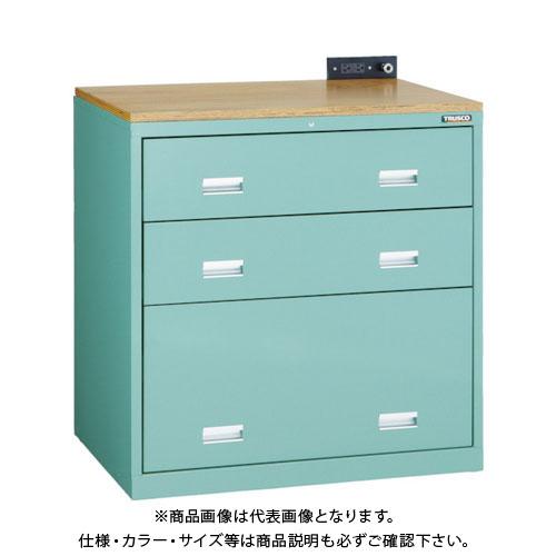 【運賃見積り】【直送品】 TRUSCO TWK型キャビネット 900X650XH920 3段 GN TWK-903S-GN