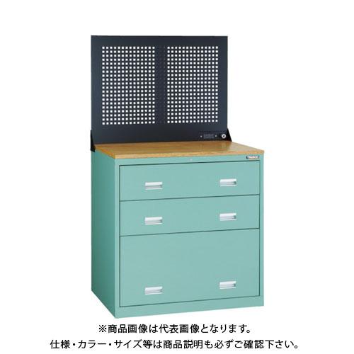 【運賃見積り】【直送品】 TRUSCO TWK型キャビネット 900X650 3段 Pパネル付 GN TWK-903SP-GN