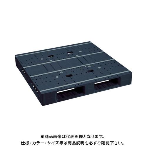 【直送品】 NPC プラスチックパレットZFD-1111E-RR 片面四方差し 黒 ZFD-1111E-RR-BK