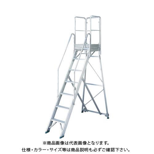 【運賃見積り】【直送品】TRUSCO 折りたたみ式作業用踏み台 高さ2.10m 高さ900手すりフルセット付き TDAD-210-900TF