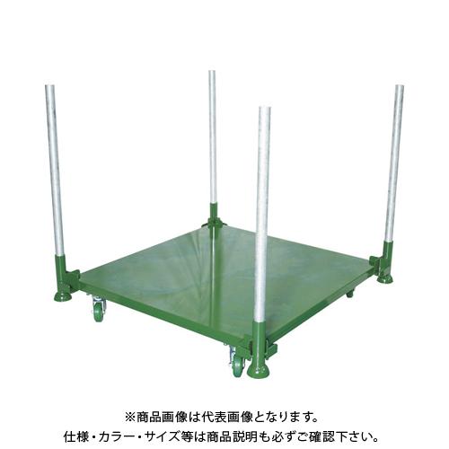 【直送品】TRUSCO 段積みパレット台車 スチール板張 500kg 1100角 単管付 DPLC05-1111T