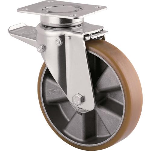 テンテキャスター 重荷重用高性能旋回キャスター(ウレタン車輪) φ125自在式(トータルロック付) 3642ITP125P63 CONVEX
