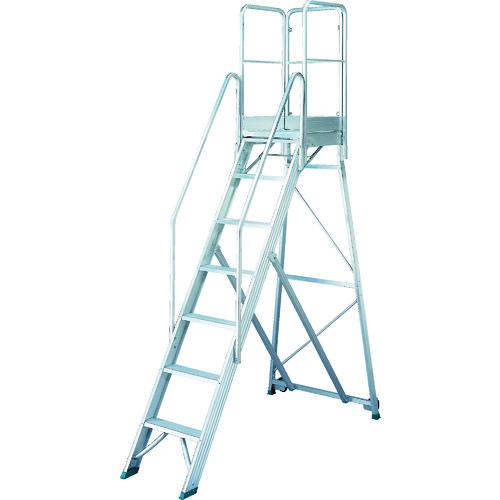 【個別送料1000円】【直送品】TRUSCO 折りたたみ式作業用踏み台 高さ2.10m 高さ900手すりフルセット付き TDAD-210-900TF