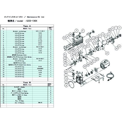 ULVAC GCD-136X用メンテナンスキットB GCD-136X MAINTENANCEKIT B