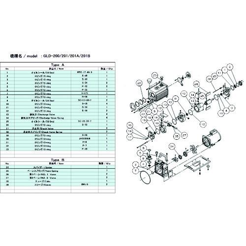 ULVAC GLD-200/201/201A/201B用メンテナンスキットA GLD-201A/201B MAINTENANCEKIT A